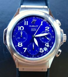 Hublot MDM mystic blue, elegant luxury men's chronograph, reference 1810.1