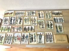 Original folder with 25 separate postcards of the Royal Dutch Army drawn by Van Oorschot c. 1935