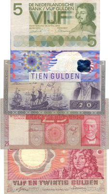 Netherlands - 5 to 25 guilders 1931/1997 - 5 different notes