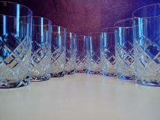 9 French crystal glasses, 1970