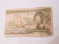 "Seychelles - 50 rupees ""SEX""note - 1 January 1968, Serie number A/1 - Pick 17a"
