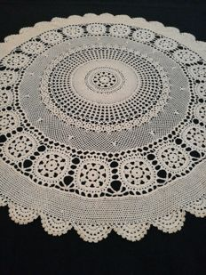 Handmade round centrepiece or placemat. Italy. C. 1960s