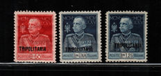 Italian Colonies, Tripolitania, 1926 – King's Jubilee, perforation 11 – Sass. No. 23/25.