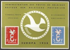 "Belgium - Luxury sheetlets OBP nos. LX29 ""Europe 1958"" and LX33 ""Europe 1960"""