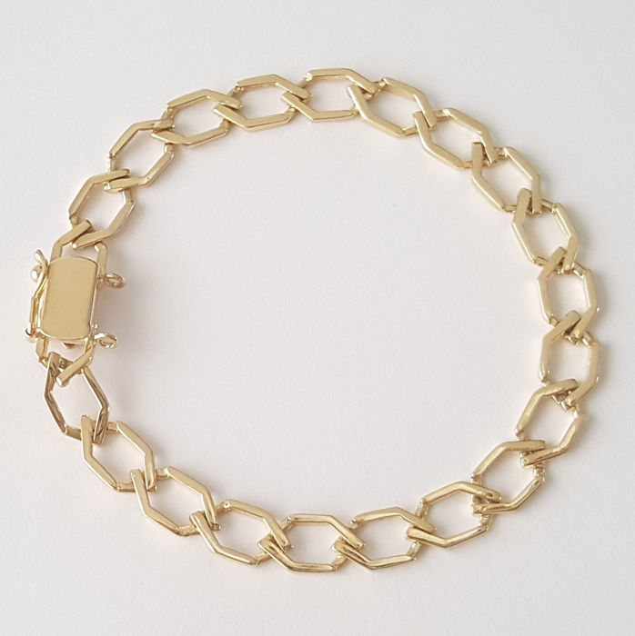 18 kt yellow gold bracelet with rhombus-shaped links - Length: 20 cm