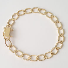 18 kt yellow gold bracelet with rhombus shape links - length 20 cm