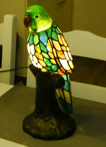 Charmant Parrot Stained Glass Table Lamp   Italy   Recent