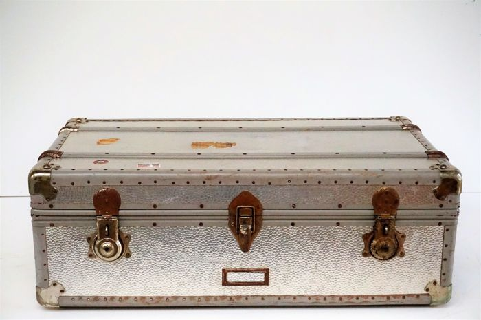 Metal Vintage Travel Suitcase First Half 20th Century, the Netherlands