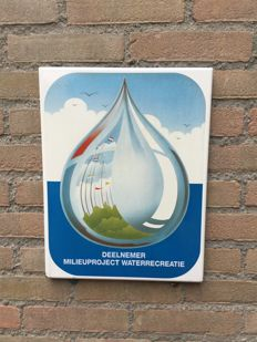 "Vintage enamel advertising sign ""Ten behoeve waterrecreatie "" Ca. 1960"