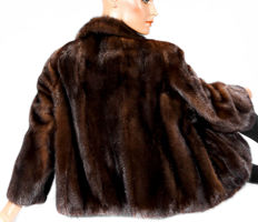 Pretty brown mink jacket in a slight bolero look fur jacket mink fur jacket light