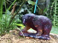 Deep Blue 100% untreated Amber Bear figure, one piece carving