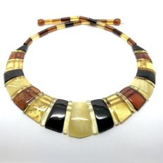 Wide collar necklace Baltic amber slices (not pressed) - length 46 cm- width 26 mm