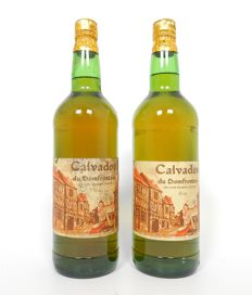 2 bottles of calvados Domfrontais - bottled by Mauger - old bottlings 1960s - 1 liter each