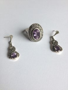Silver ring of 23.4 g and earrings of 13.4 g, set with faceted amethyst of 12.2 mm - size 60