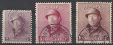 Belgium 1919 - OBP numbers 176, 177 and 178 King Albert I with helmet, 2F purple, 5F dark purplish red and 10F wine red