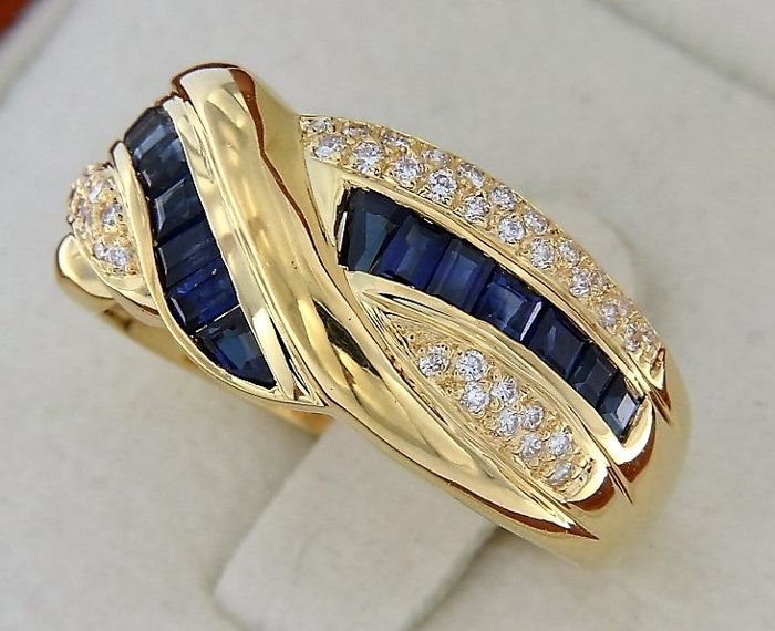evagold - 18 kt. Yellow gold - Ring Sapphire