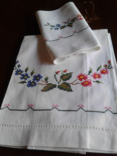 Towels + guest towels with cross stitch embroideries