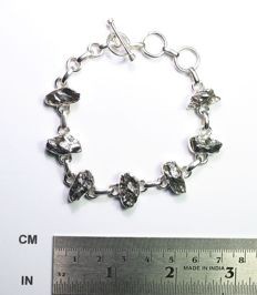 Bracelet with meteorite Campo del Cielo / 925 sterling silver - 22.6 gm