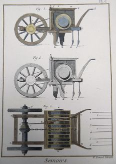 3 x Panckoucke (1736-1798) - hand coloured copper engraving - Agriculture, Gardening, Plough, Hoe, Seeders, Tools - 1793
