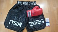 Original Everlast boxing glove and trunks / shorts signed by Iron Mike Tyson with PSA/DNA - JSA Certificate of Authenticity.