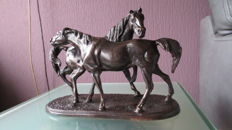 Bronze statuette with two horses at play