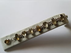 Bracelet, natural stones citrine or topaz - approx. 20 ct - 12 ct in a silver setting, Brazil end of the 20th century
