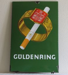 Enamel advertising sign for the old cigarette brand Güldenring