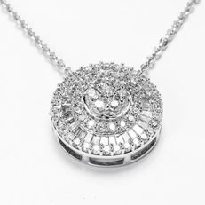 14KT White Gold Diamond Pendant 0.67CT - H/SI1 - Included 14KT White Gold Necklace 42cm