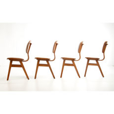 Manufacturer unknown - 4 mid-century, modern, beech wood dining room chairs with caramel brown, faux leather upholstery