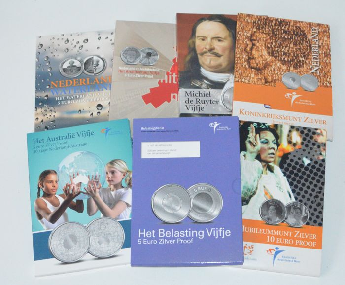 The Netherlands - 5 and 10 Euro 2004 through 2010 (7 different) - silver