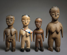 Set of 4 Venavi figurines - EWE - Twins - Togo, Benin, Ghana