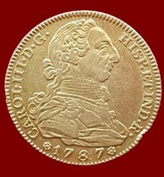 Spain - Carlos III, 4 escudos in gold, Madrid 1787 - 29 mm / 13.48 g