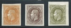 "Belgium 1869 - Leopold II ""Emission 1869"" Catalogue no. 1699, 1708 and 1713, Prints of 50 cent stamp in orange, brown and olive"