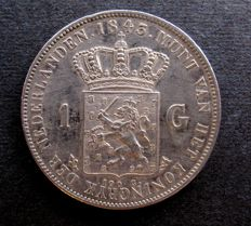 The Netherlands - 1 Guilder 1843, Willem II - silver