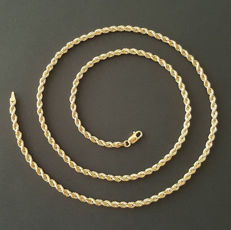 18 kt yellow gold rope style necklace - length 60 cm