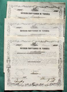 Italy - set of 3 values, forced loan coupons of three millions - Venice - provisional government - 17/08/1848 - Gavello 34, 35 and 36