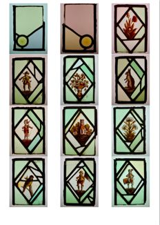 Twelve various stained glass window panes, 19th century
