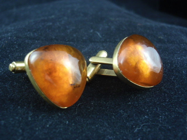 Old gilded cufflinks, produced in 1967