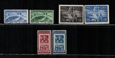 Vatican 1948 - Group of Air Mail stamps - Sass. Nos. PA 16/17  - 18/19 - 20/21