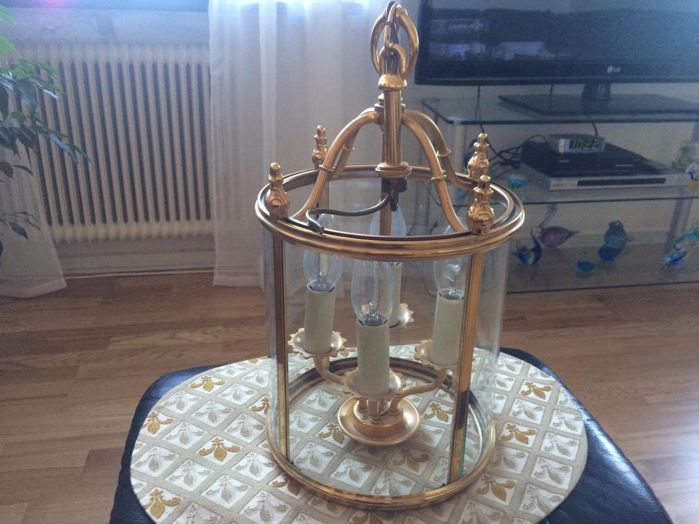 Circular brass lantern in French Louis XVI style, late 20th century