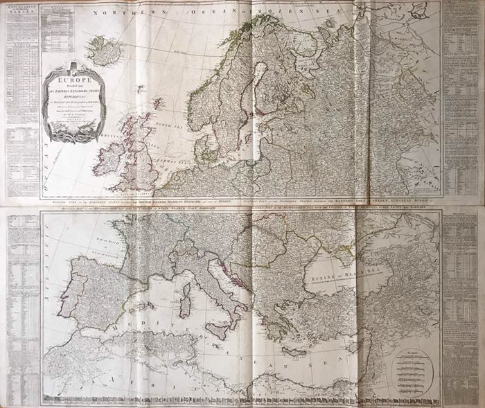 Europe, North Africa; D\'Anville / Laurie & Whittle / T. Kitchin - 2 copper  engravings - Europe divided into its empires, kingdoms, states, republics,  ...