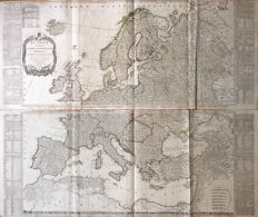 Europa, Noord-Afrika; D'Anville / Laurie & Whittle / T. Kitchin - 2 kopergravures - Europe divided into its empires, kingdoms, states, republics, &c. - 1795