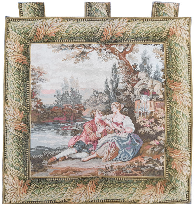 vintage  pictorial tapestry  , second half of the 20th century, France  88 cm x 90 cm,