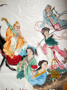 Painting on silk - The 8 immortals crossing the China Sea - China - Late 20th century
