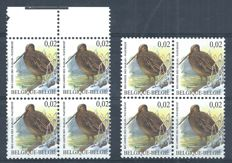 Belgium 2003 - Birds by Buzin - Cob no. 3199-Cu in block of 4 with curiosity of displaced perforation.