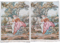 vintage pictorial tapestry Pair  , second half of the 20th century, France  67 cm x 51 cm,