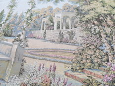 vintage  pictorial tapestry  , second half of the 20th century, France  71 cm x 186 cm,