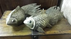 Unknown designer - 'Fish' sconces; wood, silver leaf