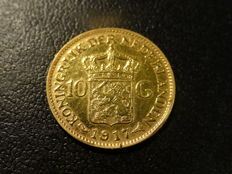 The Netherlands - 10 Guilder 1917 Wilhelmina - Gold