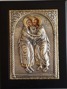 950 Silver Icon '' St.Peter & Paul '' , Greece,  late 20.th Century
